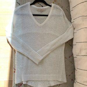 LOFT V-neck white sweater M